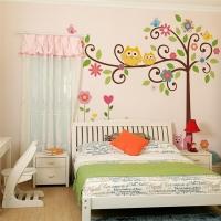 Nálepka na stenu- Sovy na strome