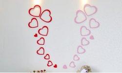 3D Drevené nalepovacie dekorácie-Srdcia