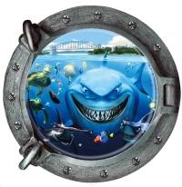 Nálepka na stenu- Okno ponorky 4