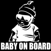Nálepka na auto- Baby on Board strieborná