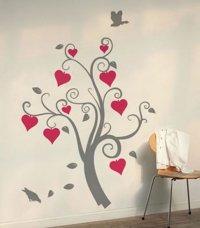 Nálepka na stenu- Srdcový strom