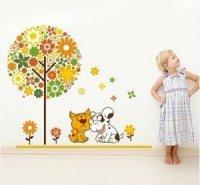 Nálepka na stenu- Strom, mačka a pes
