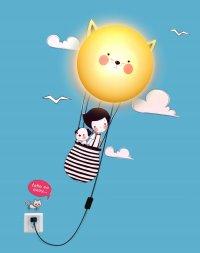 Detská lampa s nálepkou-Lietajúci balón