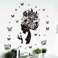 Nálepka na stenu- Žena s kvetmi