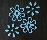 3D Drevené nalepovacie dekorácie-Kvety