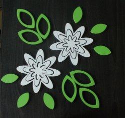 3D Drevené nalepovacie dekorácie-Kvety 2